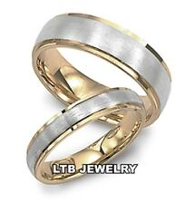 HIS AND HERS 14K TWO TONE GOLD MATCHING BANDS SET