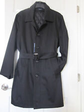 ^$180 NWT Jacob Siegel Belted Trench Coat Zip-Out Wool Blend Liner 44 S Black