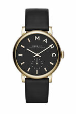Marc Jacobs MBM1269 Baker Gold Black Leather Band Thin 37MM AUTHENTIC NEW