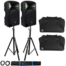"(2) Mackie Thump15 Thump-15 15"" 2000W Powered DJ PA Speakers+Stands+Carry Bags"