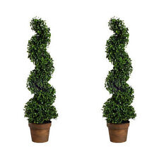"Set Of 2 36"" Artificial Boxwood Spiral Topiary Tree Plant - 58147"