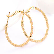 womens earings 18k Authentic yellow gold filled Frosted wedding hoop earrings