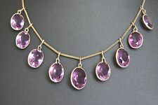 FINE ANTIQUE EDWARDIAN GILT METAL AMETHYST PASTE DROP RIVIERE NECKLACE 22 CM