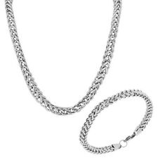 Stainless Steel Silver-Tone Mens Link Chain Necklace and Bracelet Set