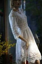LIM'S CLASSIC 100% COTTON HAND CROCHET & EMBROIDERY DRESS LONG SLEEVE ONE SIZE