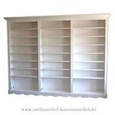 Bücherregal,Bibliothek,Bücherwand,Bücherschrank,Landhaussti-/möbel,Massiv,weiß