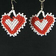 WHITE RED SEED BEADED HEART .925 PLATED, GLASS BEADS VALENTINE EARRINGS
