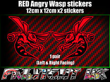 Pair of RED Angry Wasp Stickers laptop helmet bike car scooter vespa hornet
