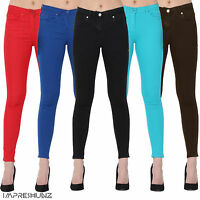 Womens Ladies Jeans Stretchy Jeggings New Fit Coloured Trousers Size 6-18