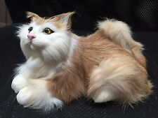 Dunhung Realistic TanWhite Cat Kitten 6.5 Inch Laying Real Rabbit Fur CT9916