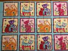 """""""Cool Cats"""" Fabric by Debi Hron for Henry Glass & Co. 17"""" x 44"""" Remnant"""