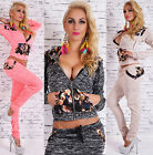 Sexy Women's 2-Piece Full Tracksuit Joggings With Hood Flower Pattern Suit HOT