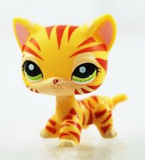 #1451 Hasbro Littlest Pet Shop LPS Orange Tiger Cat Kitten Kitty Green Eyes Toys