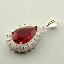 CLEARANCE Sterling Lab Created Ruby 15x10mm Pear Accented Pendant