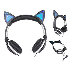 Cat Ear Kids Childrens Girls Boys Headphones Earphones with LED light for MP3 PC