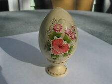 Vintage Hand-Painted, Hand-Crafted WOOD EGG WITH STAND from Ukraine Dated 9/1964