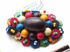 VINTAGE JEWELLERY ART DECO CZECH HARLEQUIN COLOURS WOOD BEAD BROOCH/PIN SHAWL