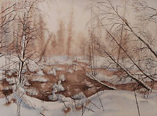 Tom Geyer Snowscape Painting 1980 Olympic Poster Artist Signed 01109