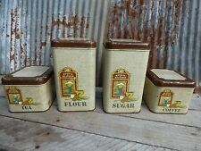 VTG METAL KITCHEN CANISTERS/ MID-C SQUARE CHEINCO CANISTERS/ CHIPPY-SHABBY-RUSTY
