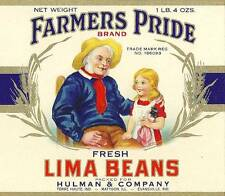 Farmer's Pride Lima Beans Can Label Hulman & Co. Terre Haute & Evansville, In.