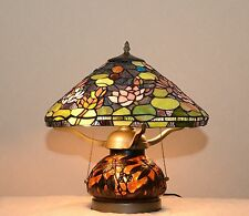 "16"" Tiffany Style Stained Glass Dragonfly Lotus Water Lily Table Lamp 2 Lights"