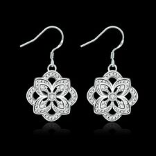Lady 925 Sterling Silver Plated Flower Dangle Hook Crystal Rhinestone Earrings