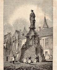 76 ROUEN MONUMENT A LA MEMOIRE DE JEANNE D ARC GRAVURE ENGRAVING 1858