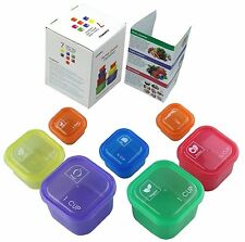 7 Piece Portion Control Container Set Weight Loss Aid Food Type Colour Coded NEW