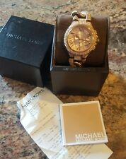Michael Kors MK3196 Camille All Crystal Glitz Rose Gold Tone Women's Watch + Box