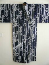 "Japanese Kimono Yukata Men's  61"" Length Bamboo/Dragon Pattern/ MADE IN JAPAN"