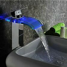 LED Flash Tap Waterfall Bathroom Basin Sink Tub Mixer Water Tap Faucet