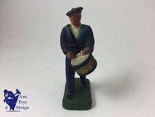 JRD FRANCE VERS 1935 FIGURINE SOLDAT MARIN MARCHANT AV TAMBOUR H 9.5CM