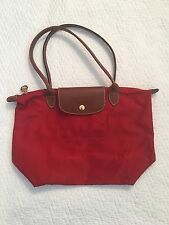 Longchamp Le Pliage Shopping Modele Depose Medium Red Purse Tote Handbag Nylon