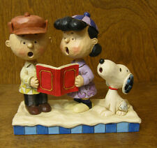 """Jim Shore PEANUTS #4045883 SNOOPY, CHARLIE BROWN, LUCY CAROLING """"Peace on Earth"""""""