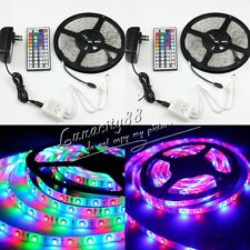 2X 3528 SMD 600leds RGB Waterproof LED Strips Lights+2X 44Key Remote+2X 2A Power