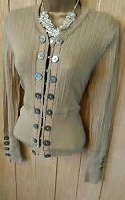 Débardeur femme KAREN MILLEN beige stone boutons sur le devant laine mix top uk 10 - 12 (us 6/8)
