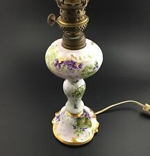 1890s D&Co Limoges Porcelain Lamp Oil Electric Hand Painted Flowers Signed 18""