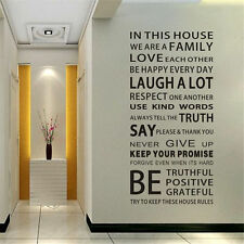 Big Removable Vinyl Decal Art Mural Family Rules Words Decor Wall Stickers