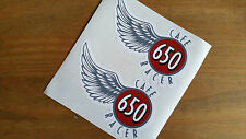 Cafe Racer 650 Wings stickers bike decal 6.5 x 10 cm pair