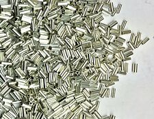 100 Lot Sterling Liquid Silver Crimp Heishi Tube/Cylinder Spacer Beads 1x2.25mm