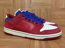 VTG�� Nike Dunk Low PRO SB Varsity Red Royal White USA Sz 10 304292-661 SICK!