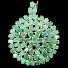 Sterling Silver 925 Huge Genuine Natural Emerald Round Design Brooch / Pendant