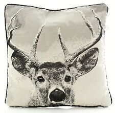"""Stag Tapestry 18"""" Cushion Cover Photographic Print Black Grey BNWT"""