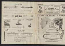 """AUBERVILLIERS (93) TUYAUTERIES & ACCESSOIRES pour POMPIER """"L. BINOCHE"""" en 1925"""