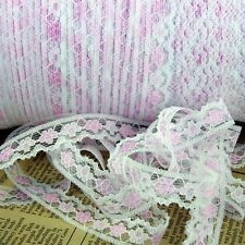 5m Rosa & Bianco Pizzo Bordo Cucito e Creazione vestiti Bordature 13mm LC8