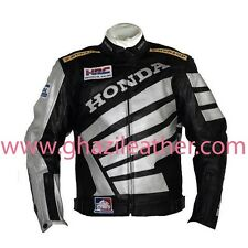 HONDA MEN MOTORBIKE LEATHER RACING JACKET BLACK & WHITE WITH ALL SIZES AVAILABLE