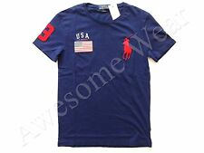 New Ralph Lauren Polo Custom Fit Big Pony 100% Cotton Navy USA T- Shirt sz S