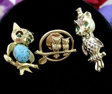 LOT of 3 OWL PINS Vintage Brooch Lapel Tie Tack RHINESTONES Cabs Goldtone