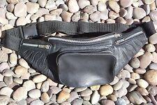 Chacha-cuero riñonera suave cuero vacuno negra llamas liso, cinturón Bolsa