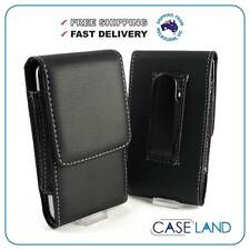 S1- BLACK VERTICAL LEATHER BELT CLIP CASE COVER HOLSTER FOR TELSTRA T95 MOBILE